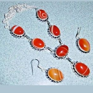 Natural Botswana Necklace/Earrings 925 Silver Set